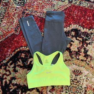 Reebok leggings and Nike sports bra bundle
